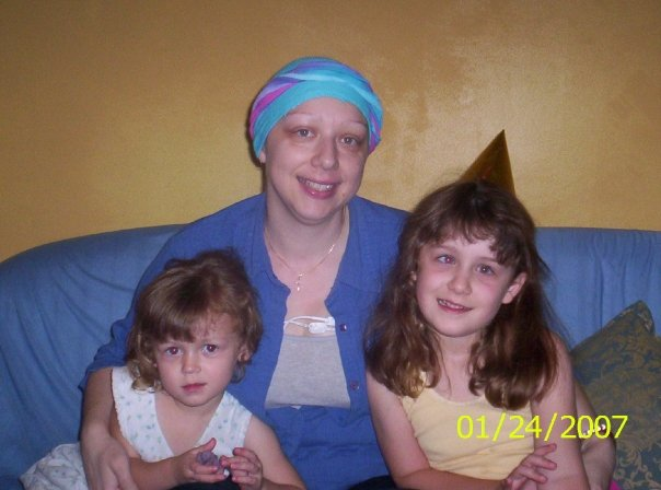 Jodie During Intial Treatment With Her Girls. She was wearing a Hickmans.